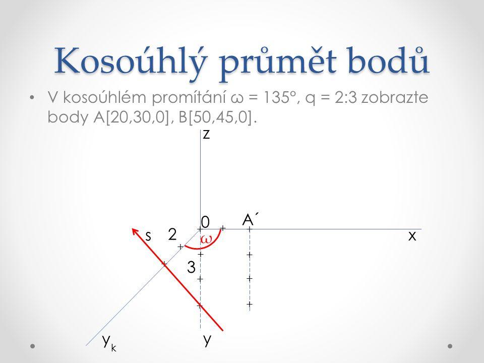 Kosoúhlý průmět bodů V kosoúhlém promítání ω = 135°, q = 2:3 zobrazte body A[20,30,0], B[50,45,0]. z.